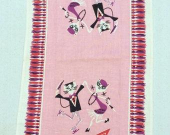 Vintage Towel Mid Century Bar Dancing Jazz Cats Signed