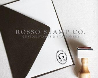 Monogram Stamp, Wedding Monogram Stamp, Custom Stamp - Style No. 16