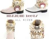 Mermaid Boots Ocean Beach Shell Rhinestone Boots Gypsy Festival Wedding Boots Art Shoes ALL SIZES