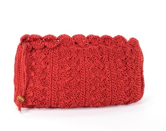 Red Clutch Macrame Vintage Corded Vintage 1950s Wristlet Made in Japan