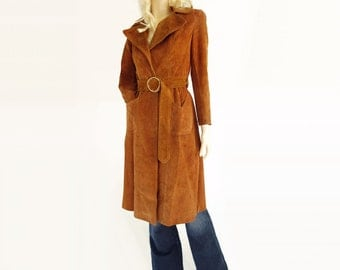 SALE 70s Tan Suede Coat, Boho Suede Trench, Tan Suede Long Coat, Tan Suede Hippie, Suede Trench Belt, Extra Small, Petite