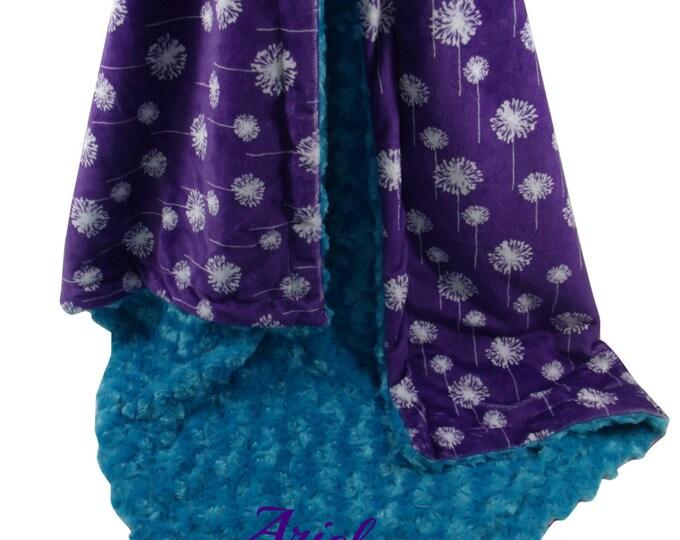 Teal Rose Swirl and Purple Dandelion Minky Baby Blanket, Teal and Purple Minky Blanket, available in three sizes