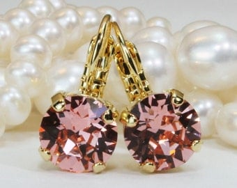 Coral Crystal Gold Earrings Bridesmaids Peach Pink Drop Earrings Swarovski Earring Coral Single Stone Coral Wedding,Silver,Rose Peach,SE2