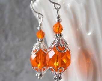 Orange Dangle Earrings Glass Bead Earrings with Swarovski Elements Orange Wedding Jewelry Gift for Bridesmaid Sterling Silver Hooks Handmade
