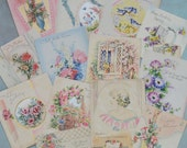 14 Vintage 1930's Greeting Card Lot Pretty Florals Girl Art Deco