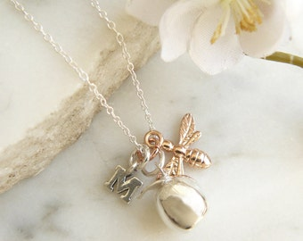 Silver Apple Necklace with Rose Gold Bee and Letter Charm