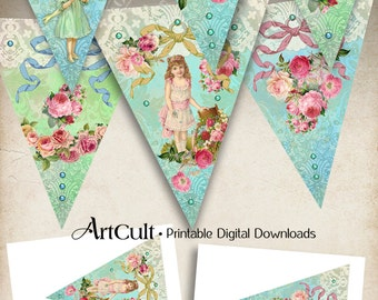 Printable Party Pennants VICTORIAN FANTASY triangle Banners digital download collages sheet vintage shabby images scrapbooking paper ArtCult