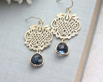 Navy Blue Gold Earring, Blue Lace Earrings. Gold Lace Earrings Something Blue Wedding Blue Wedding Jewelry Bridesmaids Gift, Bridal Earrings