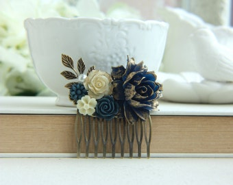 Navy Blue Flower Hair Comb, Gold and Dusky Blue Rose, Gold and Blue Wedding Comb, Navy Blue Wedding Something Blue Wedding Bridal Hair Comb