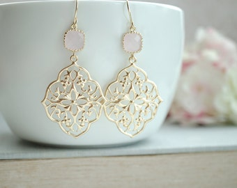 Pink Filigree Chandelier Earrings, Light Soft Pink, Opal Pink Gold Plated Glass Dangle Earrings Bridesmaid Gift. Boho Earrings, Pink Peacock