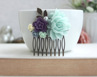 Mint Rose Comb, Dark Purple, Grey Blue, Ivory Amethyst, Light Mint Flowers Hair Comb. Bridesmaid Gifts Mint Wedding, Purple and Mint Green