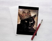 Cat Greeting Card Queen Black Cat Card 5x7 Greeting Card Stationery Animal Photography Birthday Made in Canada - Queen Cora