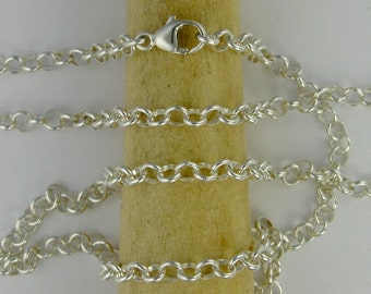Sterling silver chain with argentium silver lobster clasp for pendants DTPD