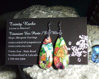 Rainbow Variscite (D) Teardrop Dangle Earrings Earings Titanium Ear Wires Made in Newfoundland