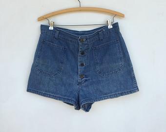Vintage 70s Denim Shorts Distressed Seafarer Sailor Shorts Hip Huggers M