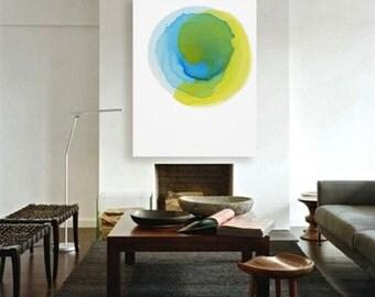 "Original Meditative Minimal Abstract Painting, blue, yellow, green, 43 x 55"" ""Deep Water - Sun Ripple"" mid century inspired modern painting"