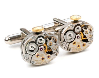 Antique 1950's Longines Watch Steampunk Cuff Links