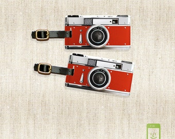 Personalized Luggage Tags Retro red Camera Metal Tag Set Personalized Custom