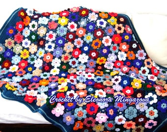 Made to order. Flower Field Blanket Handmade, Hand crocheted afghan / throw / blanket. Free US shipping.