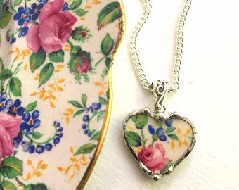 Broken china jewelry petite heart pendant necklace antique Kent Rosalynde chintz pink rose recycled china
