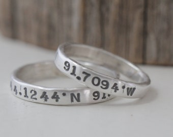 couples coordinate rings, long distance relationship ring, coordinate jewelry, gps jewelry, men women ring set, hand stamped, fine silver