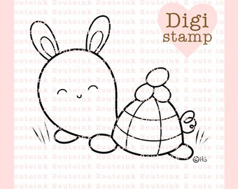 Easter Bunny Turtle Digital Stamp - Turtle Digital Stamp - Digital Easter Stamp - Turtle Art - Easter Card Supply - Easter Craft Supply