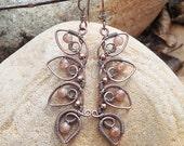 Boho wire wrapped Sunstone earrings bohemian wire jewelry
