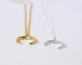 Double Horn Necklace - Crescent Necklace - Tusk Necklace - Gold or Silver