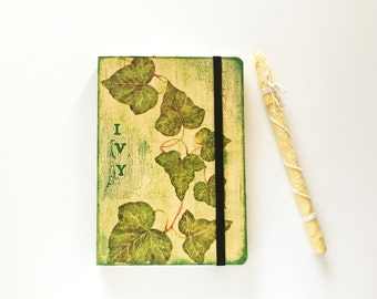 RESERVED for Elisa - {Elily80} Country journal with decoupage of Ivy leaves and elastic closure