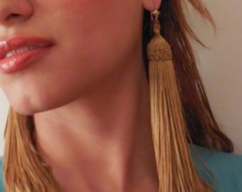 Sale * Golden Tassel Long Fray Earrings