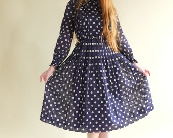 Oh my polka, blue Japanese vintage dress, xs