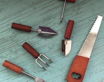 Miniature Garden Tools Wood Handles 6 Piece Set, Home and Garden Decor, Miniature Gardening, Fairy Garden Accessories