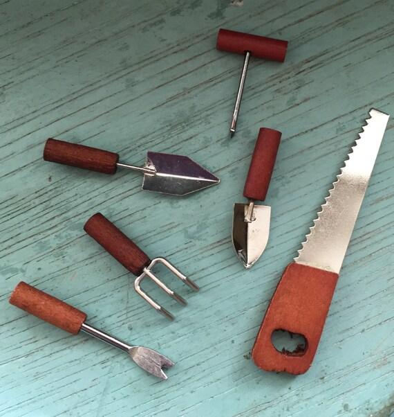 Miniature garden tools wood handles 6 piece set home and for Miniature garden tools