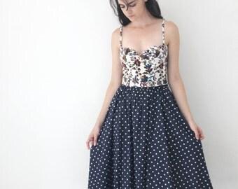 Dark blue retro skirt / polkadot midi skirt / cotton midi skirt / summer skirt / pin up skirt / high waist skirt / nautical skirt /