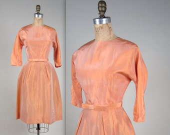 1960s taffeta party dress • vintage 1960s dress • peach evening dress
