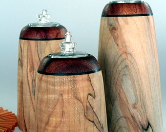 Handmade Home Decor Wooden Oil Lamp Candles Ambrosia Maple and Koa