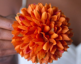 Burnt Orange Pom Pom Hair Flower