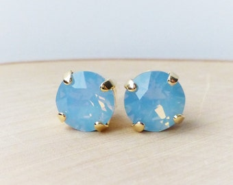 Blue Opal Swarovski Stud Earrings, Crystal Rhinestone Stud Earrings, Air Blue Opal Post Earrings, Gold Round Crystal Studs, Gift for Her