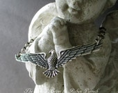 MEN'S NECKLACE - soaring eagle silver plated vintage chain bird unisex christmas holiday gift jewelry, the french circus by robyn parrish