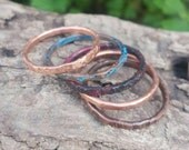 Copper Stackable Rings, Thin Stacking Rings Set of 5, Boho Mother's Day gift for her, Copper Rings for Women, Verdigris Jewelry, Bohemian