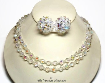 50s 2 Strand AB Crystal Glass Bead Necklace & Cluster Earrings with Rhinestone Clasp Closure - Vintage 50's Demi Parure Costume Jewelry Sets