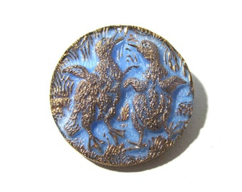 Czech Dancing Ducklings Button 36mm Czech Glass Button One (1) Large Blue Glass Gold Luster Dancing Ducklings Jewelry Sewing Supply (N117)