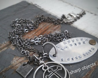 Refuse to Sink - stamped silver tag, stainless steel cross & metalwork hardware charm chain necklace