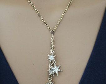 Tassel Necklace - Star Necklace - Crystal Necklace - Boho Necklace - Brass Necklace - Handmade Jewelry