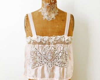 Vintage 1920s Pastel pink Silk Lace Camisole/Delicate tulle lace/Bridal Wedding/Brami/Bralette/Ribbon straps