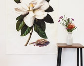 Botanical Print wall art / Magnolia Fabric Wall Art / Magnolia Grandiflora / giant flower wall art