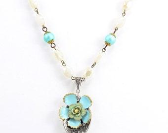 Blue Flower Jewelry Necklace – Silver Brass Spoon Upcycled Jewelry - Bohemian Flower Fashion Necklace – Hawaiian Inspired Floral Jewelry -U1