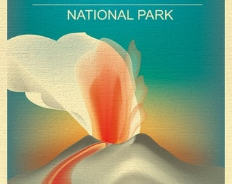 Hawaii Volcanoes National Park Poster, National Park Art, Hawaii Print, Hawaii Volcanoes skyline, Hawaii Art, Hawaii Gift - style E8-O-HAW