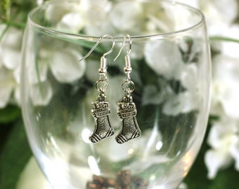 Silver christmas Stocking Charm Earrings - clip-on and 925 sterling silver options available