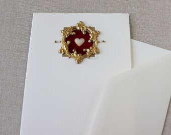 Red Heart Valentine Card Love, Art Greeting Card Handmade,Ornate Gilt Framed Heart Red Valentine, Handmade Greeting Card